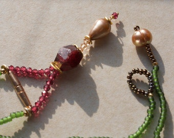 Glass Pearl Necklace long with Garnet stone