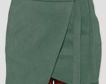 Shala Green Suede Wrap Skirt
