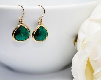 Yellow Gold Earrings Emerald emerald green