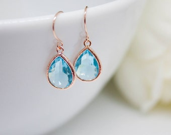 Rose gold drop earrings aquamarine pendant earrings