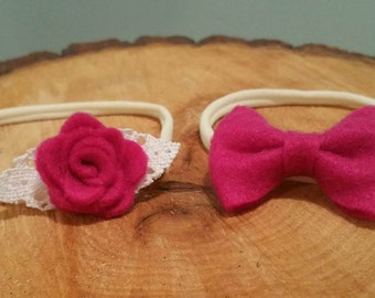 Nylon Baby Headband, Baby girl headband, Bow,Felt bow, Felt Flower, Newborn, Baby Shower - Felt Bow Set of 2  - Pink