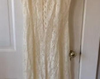 VINTAGE Lace Dress- Corset Back, Button Up, Lace Up, White Lace, Bridal, Wedding Dress, Mid Calf Length