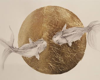 Fish love pencil drawing with gold leaf