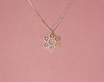 Silver flower necklace lotus flower necklace flower pendant necklace lucky flower necklace flower pendant flower charm