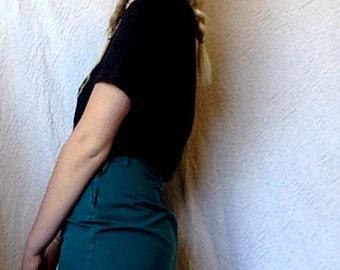 forest green denim skirt