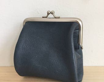 Slate Blue Leather Clasp Frame Small Pouch