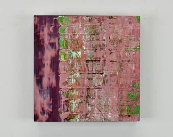"ORIGINAL Abstract Painting ""Flirt"" by Lisa Carney, Textured Acrylic, Modern Art, Minimalist Painting, Reductive Art, Small Impasto Art, Pink"