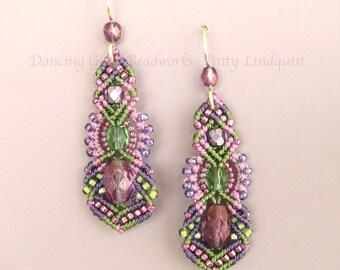 Macrame Beaded Earrings in Pink, Green, Purple, Easter Earrings, Macrame Jewelry, Beadwork Earrings, Seed Bead Earrings, Kera style