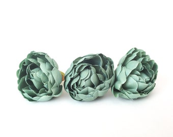 Set of THREE Vintage Inspired Peonies in Gray Green, Antique Teal - 3 inches - silk flowers, silk flower, artificial flowers - ITEM 01002
