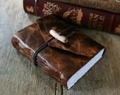 "Leather Journal . ""The Raven"" - Edgar Allan Poe quote . handmade handbound . distressed brown (320pgs)"