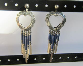 Native American - Southwestern Sterling Silver Stamped Heart with Lapis and Sterling Paddle Dangle Earrings     1286
