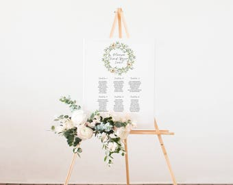 Printable Seating Chart / Wedding Sign / Find Your Seat Sign / Rustic Wedding / Botanical Wedding Decor / Greenery / Reception Sign