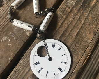 Timey Wimey Vintage Porcelain Watch Face Book Page Bead Necklace Jane Austen
