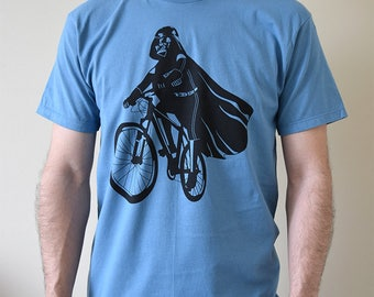 Men's graphic t-shirt Darth Vader is Riding It, star wars geek art shirt, men's bicycle tee, gift for father, funny print, dad shirt