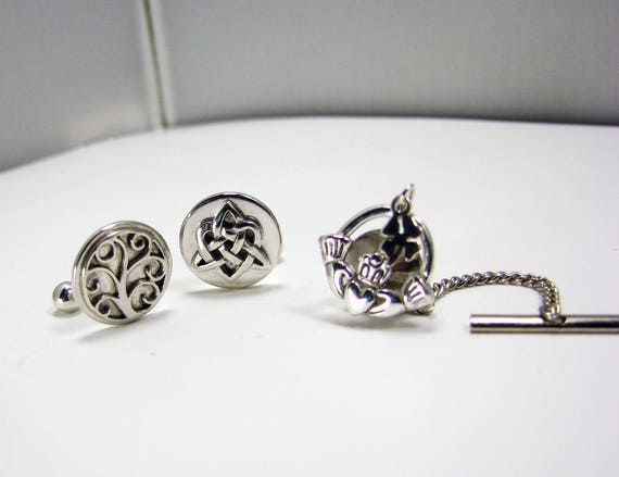 For Him - A bit of Irish luck for your special day. Cuff Links - Trinity Knot and Tree of Life, Tie tack - Claddagh - A11