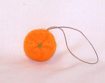 Needle Felted Orange -  Miniature Fruit Ornament - Felt Christmas