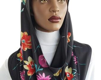 Koul SHôl™ Head Hoodie Multi Floral Border Cowl Hoodie Fully Lined Veil Devotional Head Hoodie Veil Hoodie Hijab Hoodie Handmade