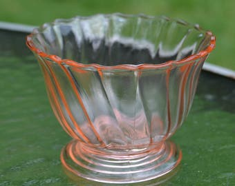 1930s Low-Footed Pink Glass Sherbet, Jeannette Glass Co.