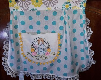 SALE - Polka dot Half Apron with Vintage Doily pocket, hand embroidery, frilly apron, teal, yellow