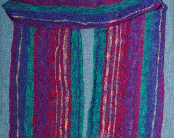 Handwoven Women's Cotton Scarf in Blue, Red, Green, Purple, Pink. Vertical Stripes