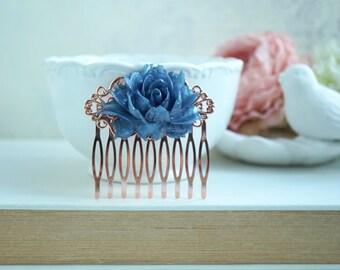 Rose Gold Comb, Navy Blue Rose Gold Comb Blue Wedding, Rustic Navy Blue Rose Gold Comb, Something Blue Wedding, Bridesmaids Rose Gold Gift