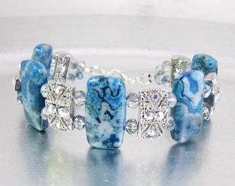 Blue Crazy Lace Agate and Swarovski Crystal Bracelet or Medical ID Bracelet or Watch Band