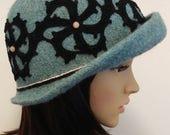 Emma Brimmed Hat in Seafoam Green with Black Crochet Sprirals
