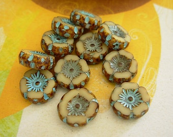 Czech Picasso Beads, 12mm Hawaiian Flower, Czech Glass Beads, 20% Off (2nd Quality)- Beige Picasso (10)