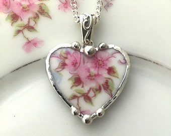 Broken china jewelry beautiful heart pendant broken china jewelry necklace antique pink roses porcelain