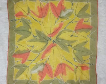 Iconic Vera Neumann Vintage 60s Olive Green, Yellow and Orange Graphic Leaves Square Scarf