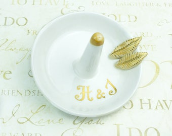 Bridesmaid Personalized Ring dish gift honey yellow leaves Gold White Ring holder jewelry storage Shower Wedding Gift