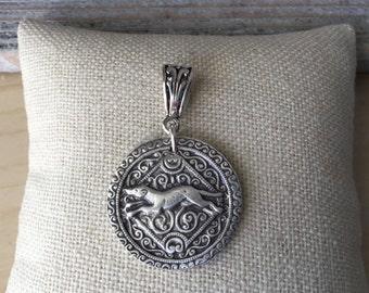 Running Greyhound Fine Silver Pendant