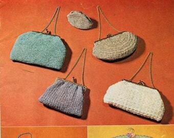 MYART Book 5 Crochet 60s Purses Handbags Coat Hanger Covers & Accessories Patterns Vintage Crochet Pattern booklet 18 styles