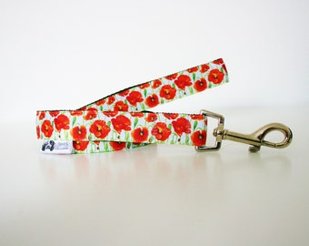 Red Poppy Flower Dog Lead Leash Training Matching Line