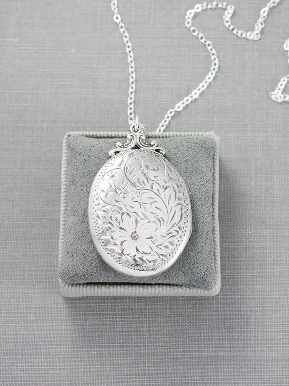 Sterling Silver Locket Necklace, Large Oval Picture Pendant Hand Chased Flower and Vine Design - Forever Love