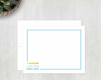 Personalized Note Cards Set • Note from Teacher - Pencil {FLAT} • 10 Notes with Envelopes • Personalized Thank You Notes • Stationery