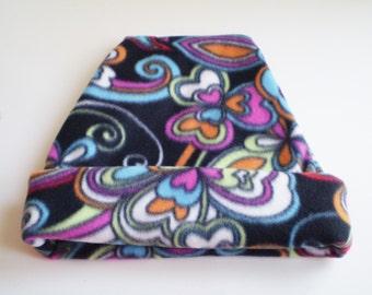 Mod Flower Fleece Hat, Colorful Fleece Slouchy Hat, Colorful Fleece Beanie Hat, 70's Flower Hat, Fleece Beanie Cap