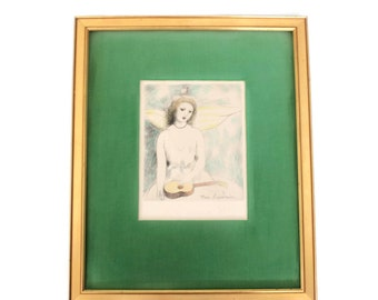 Girl With Guitar Hand Colored Etching by Marie Laurencin (1883-1956) French Avante Garde Artist