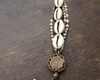 Nomad Queen - Cowrie Shells and Lost Wax African Brass Beads - Boho Hippie Bracelet