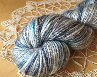 DK Weight Yarn / Hand Dyed Merino Silk Luxury / Snow White Ice Blue Charcoal Grey Black North Pole