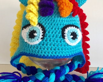 Rainbow Dash Hat, My Little Pony, Unicorn Hat, Ready To Ship Size 5T to Pre-Teen, 21 Inches