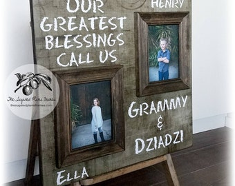 Grandma Gift, Mothers Day Gift, Grandma Frame, Grandparents Gift, Our Greatest Blessings Call Us, 20x20 The Sugared Plums Frames