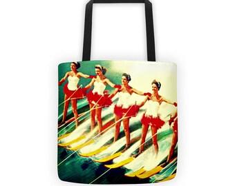 Retro Water Ski Art Summer Party Beach Bag Tote, Summer Outdoors Beach Vacation Bag, Summer Party Tote Bag, Retro Ski Gift, Summer Outdoors