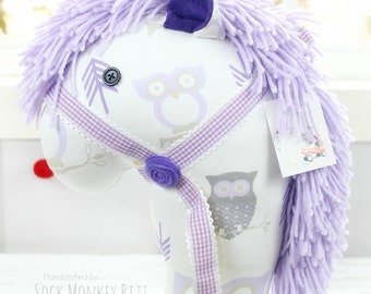 On Sale Thru June 13th - Stick Horse, Handmade Ride-On Hobby Horse Toy, Lavender and Gold Owl Print