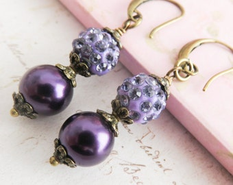Dark purple bridesmaid earrings, pearl earrings, rustic wedding jewelry, crystal earrings, bridal party gift, country wedding jewelry