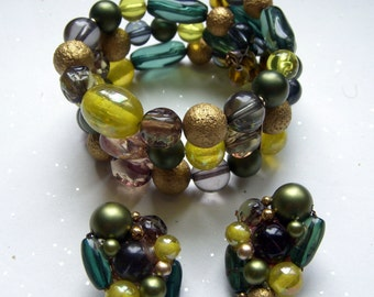Karu Arke Green Bead Bracelet and Earrings