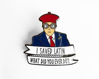 Max Fischer I Saved Latin Enamel Pin - Wes Anderson Rushmore Illustrated Lapel Pin