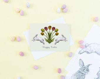 SALE Happy Easter Greetings Card // Blank Easter Cards - Easter Bunny - Bunny Card - Blank Card - Sale Cards