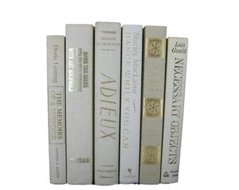 Beige Ivory Decorative Books,  Wedding Decor, Neutral Vintage Books, Home Decor, Old Books, Book Stack, Photo Prop, Book Prop, White Decor