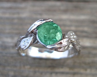 Emerald Engagement Ring, Emerald Leaf Ring, Emerald Leaf Engagement Ring, Emerald Leaf Wedding Ring, Antique Emerald Ring, 18k Emerald Ring